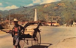Malaysia Old Vintage Antique Post Card Rickshaw at Ayer Itam Road Penang Unused