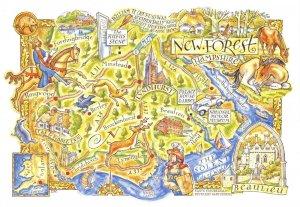 New Forest Hampshire Map Postcard, Beaulieu, Lyndhurst, Lymington, Ringwood BZ1