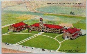 Wichita Falls, Texas Postcard Aerial View HARDIN JUNIOR COLLEGE Linen c1940s