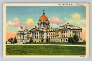 Jackson MS-Mississippi, State Capital, WWII Soldier Letter, Linen Postcard