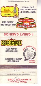 Matchbook Cover ! Gold Strike, Railroad Pass, and Pioneer Casinos, Nevada  !