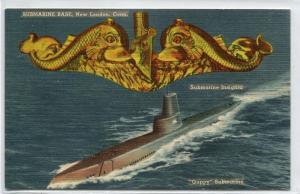 Guppy Submarine US Navy Base New London Connecticut linen postcard