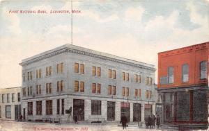 Ludington Michigan~First National Bank~1908 Postcard