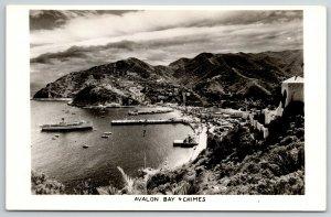 Santa Catalina Island CA Hillside Chimes~Huge Steamship@ Avalon Bay RPPC 1940s