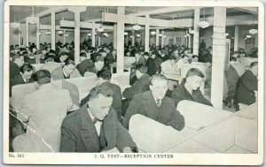 Vintage 1940s WWII Military Postcard I.Q. TEST - Reception Center 1943 Cancel
