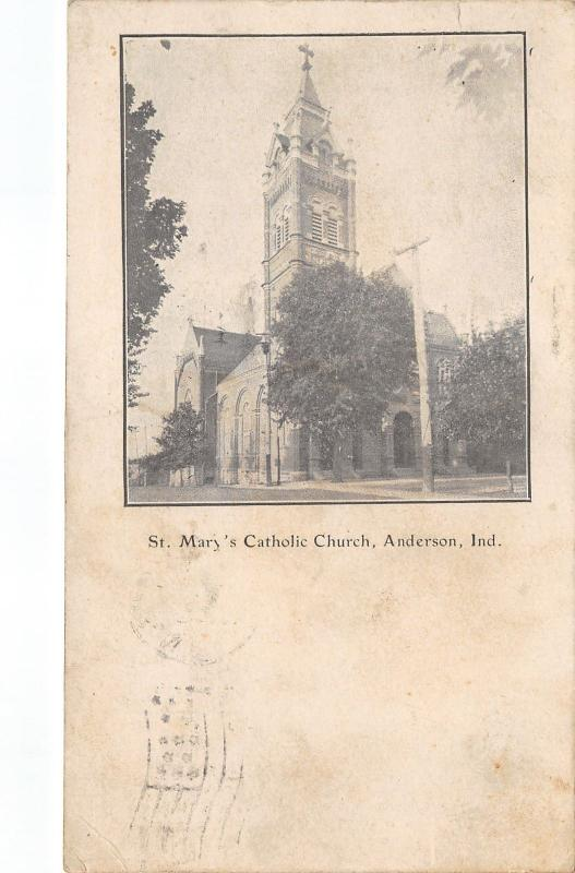 Anderson Indiana~St Mary's Catholic Church~c1905 B&W Postcard Mailed 1911