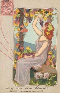 Art Nouveau Lady Eating Grapes Jugendstil 04.36