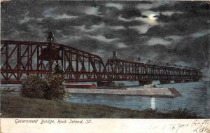 Illinois  Rock Island    Government Bridge at Night