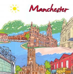Manchester, England, UK Postcard, Art Doodles, City Landmarks, Travel #683