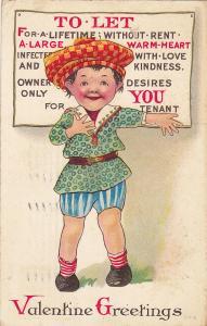 Valentine Greetings, Child wearing large checkered beret, PU-1912 ; Poem