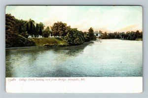 Annapolis MD-Maryland, Scenic College Creek West From Bridge, Vintage Postcard