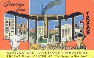 Abilene, Texas USA Large Letter Town Vintage Postcard Old Post Card Antique P...