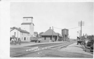 Lodi Wisconsin~NW RR Depot~Grain Elevator~Railroad Water Tank~Boys~1915 RPPC