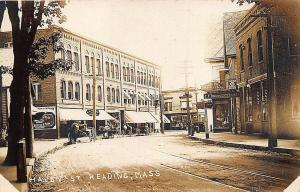 Reading MA Haven Street Storefronts Trolley Tracks Horse & Wagons RPPC Postcard