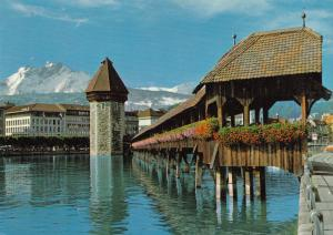 Switzerland, Suisse, Lucerne, Chapel bridge with Water Tower and Mt. Pilate