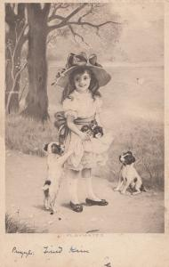 Girl With Apron Towel Full Of Kittens Antique Cat Postcard