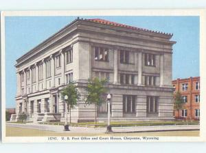 Unused Linen POST OFFICE SCENE Cheyenne Wyoming WY d8652