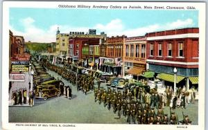 Claremore, OK Postcard Oklahoma Military Academy Cadets on Parade Linen c1940s