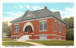 Presque Isle Maine Public Library Street View Antique Postcard K48855
