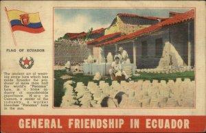 NICE LINEN Friendship in Ecuador Flag Pottery Guayaquil Postcard