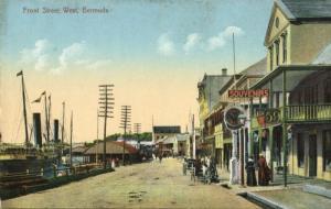 bermuda, B.W.I., Front Street West (1910s) Postcard