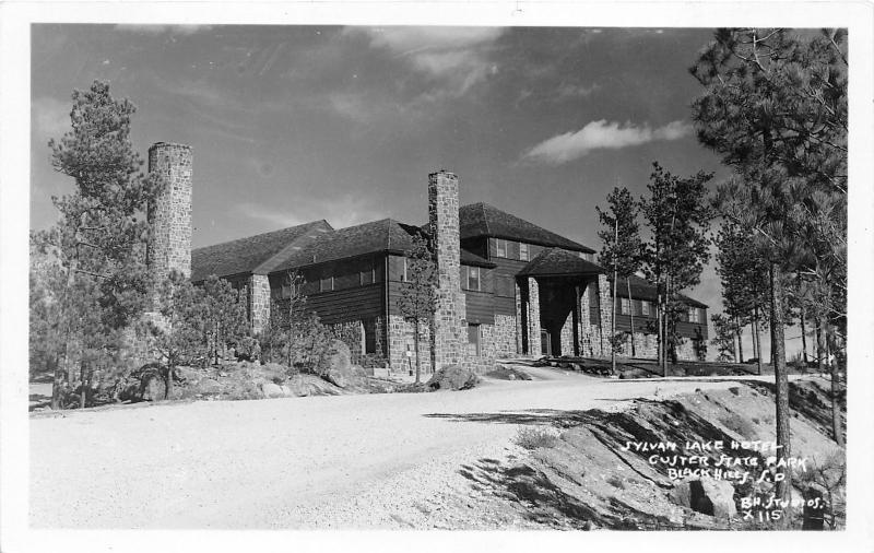 Black Hills South Dakota Sylvan Lake Hotel Custer State Park 1940s Postcard
