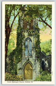 Galena Illinois~Grace Episcopal Church~Close Up~Ivy & Trees~1939 Linen Postcard