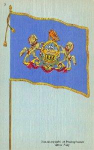 Vintage USA Linen 1954 Postcard Commonwealth of Pennsylvania State Flag 69Y