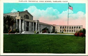 Oakland California Ca Technique Haut École Unp 1920s Vtg Carte Postale