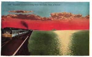 Vintage Postcard 1920's Sunset Overland Limited Crossing Great Salt Lake Utah UT