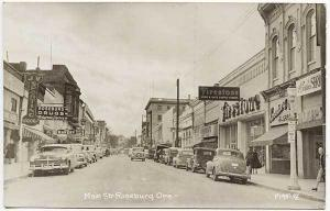 Roseburg OR Main Street View Store Fronts RPPC Real Photo Postcard
