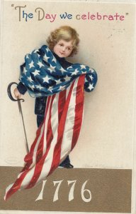 CLAPSADDLE ; July 4th , Boy wrapped in flag , 1912