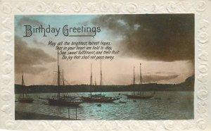 Post card Birthday wish greetings lake night view sailing boats