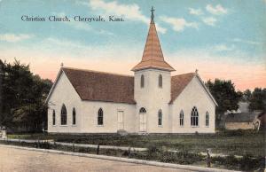 Cherryvale Kansas~Christian Church~Barn Behind~Posts Along Road~1908 Postcard