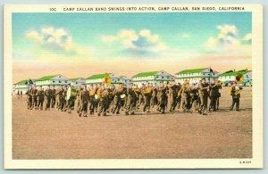 San Diego New York~Camp Callan Band Swings into Action~1940s Postcard