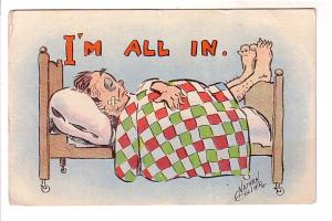 Nathan Collier, Man in Bed, I'm All In, JMP, Vintage Cartoon, Series 501, USA