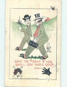 Bent 1909 comic signed MEDICAL HUMOR - DOCTOR RUSH WANTS HIS MONEY o7305