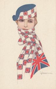ART DECO ; NANNI ; Country Flag Scarf Girl  U.K.  , 1910-30s
