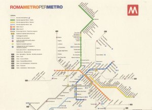 Rome Italy Subway Train Underground Map Postcard