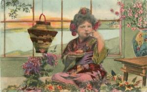 C-1910 Child Japanese Motif Eating Desert interior Postcard 3446