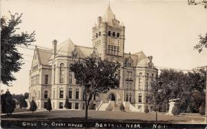 Beatrice Nebraska~Gage County Court House~Cannon Display~1909 Real Photo PC