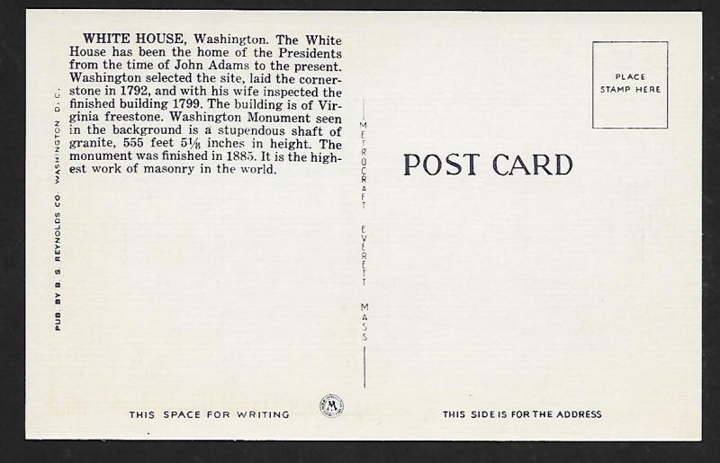 White House Washington Monument Washington DC unused c1940's