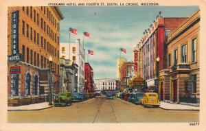 Stoddard Hotel & Fourth St. So, La Crosse, WI, Early Linen Postcard, Unused