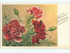 Very Old Foreign Postcard BEAUTIFUL FLOWERS SCENE AA4290