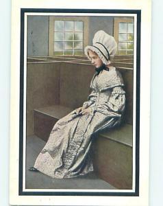 Divided-Back PILGRIM GIRL IN BONNET SITS ON WOODEN BENCH o7292