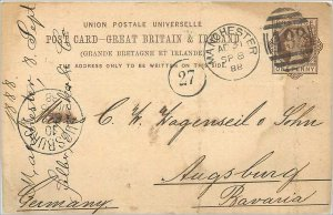 Entier Postal Stationery Postal Great Britain Great Britain 1888 Manchester t...