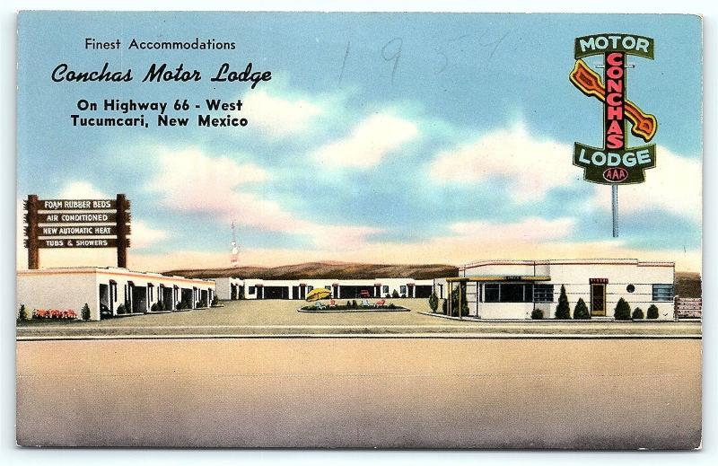 Postcard NM Tucumcari Motel Conchas Motor Lodge Route 66