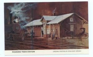 Roanoke Illinois Santa Fe Train Depot Original Painting by Edna Brown, Chrome