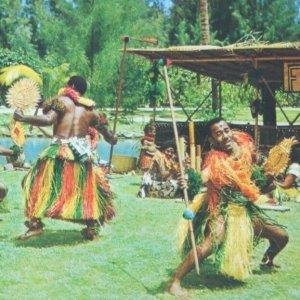 Fijian spear dance Polynesian Cultural Center Hawaii vintage postcard 1960s