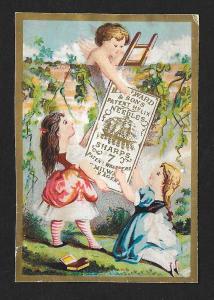 VICTORIAN TRADE CARD Milward's Helix Needles Children Cherub